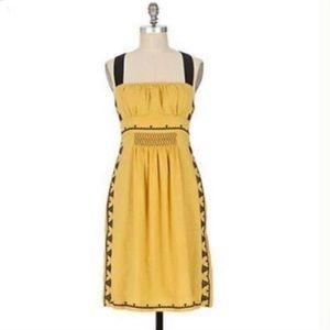 Anthropologie Floreat California Iris Yellow Dress